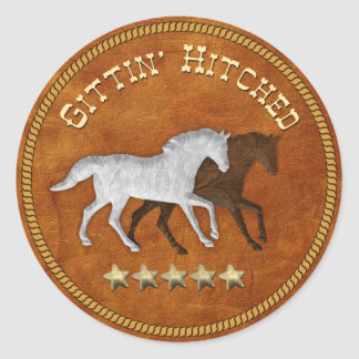 3D Suede Gittin' Hitched Stickers