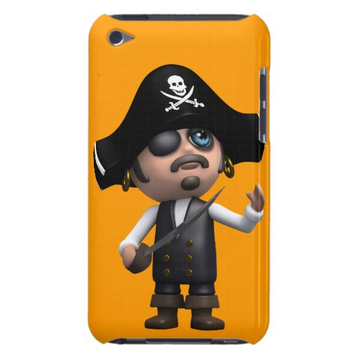 3d Surprised Pirate (editable) iPod Touch Case