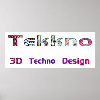3d techno design 2d poster
