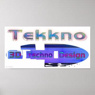 3d techno design 3 poster