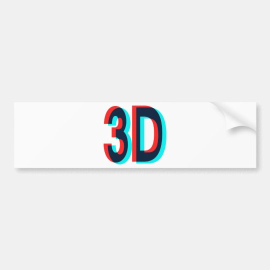 3D Three Dimension Design Bumper Sticker