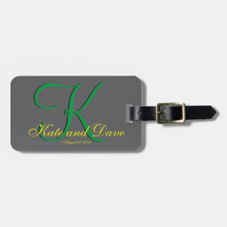 3d Titanium Monogram Date Yellow Text Bag Tag