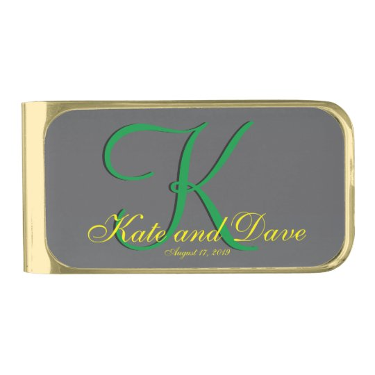 3d Titanium Monogram Date Yellow Text Gold Finish Money Clip Zazzle Com