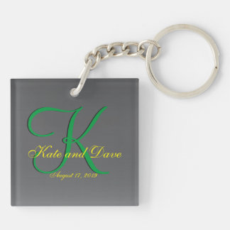 3d Titanium Monogram Date Yellow Text Keychain