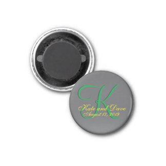 3d Titanium Monogram Date Yellow Text 1 Inch Round Magnet