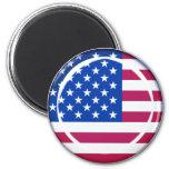 3D USA flag 2 Inch Round Magnet