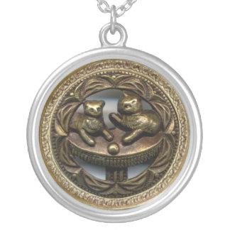 3D Victorian Cats Round Pendant Necklace