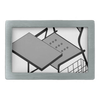 3d view of a drafting table rectangular belt buckle