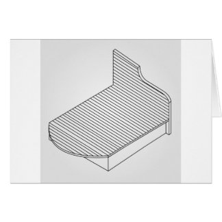 3d view of a wooden bed furniture card
