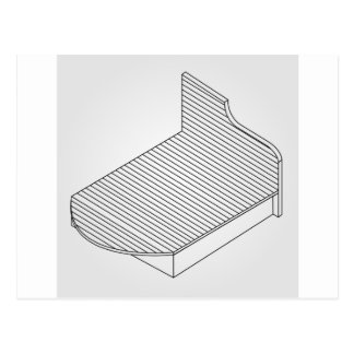 3d view of a wooden bed furniture postcard