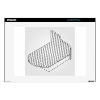 """3d view of a wooden bed furniture skin for 15"""" laptop"""