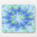 3D Vortex Green and Blue Mouse Pad