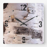 3D White Birch Bark Square Wall Clock