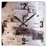 3D White Birch Bark Wall Clocks