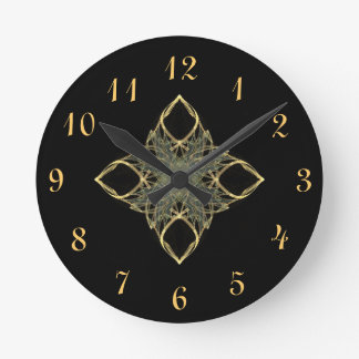 3D Wire Look Gold Diamond with Blue Center Round Clock