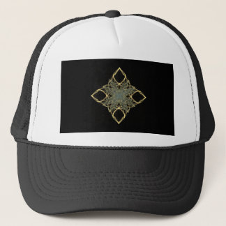 3D Wire Look Gold Diamond with Blue Center Trucker Hat