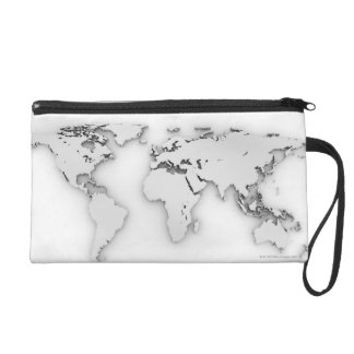 3D World map, computer generated image Wristlet Purse