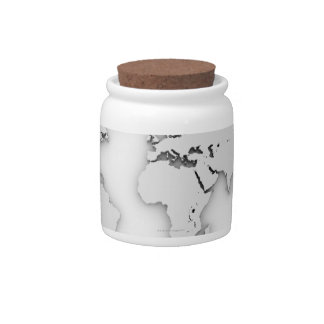 3D World map, computer generated image Candy Dish