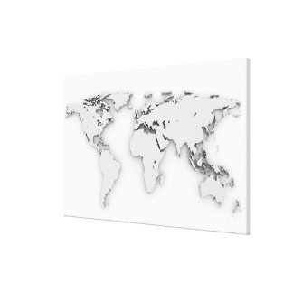 3D World map, computer generated image Canvas Print
