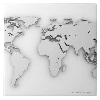 3D World map, computer generated image Ceramic Tile