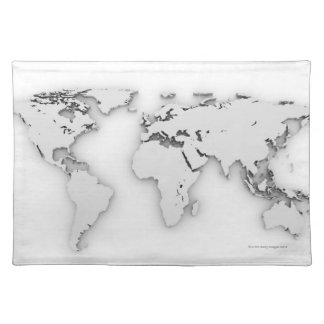 3D World map, computer generated image Cloth Placemat