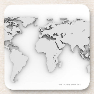 3D World map, computer generated image Drink Coaster