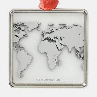 3D World map, computer generated image Metal Ornament