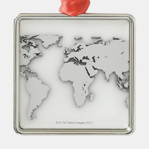 3D World map, computer generated image Square Metal Christmas Ornament