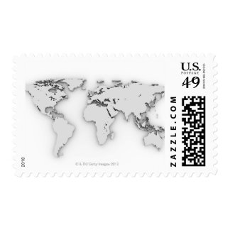 3D World map, computer generated image Postage