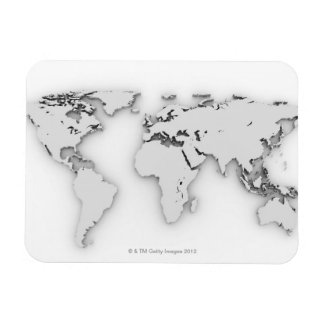 3D World map, computer generated image Rectangular Photo Magnet