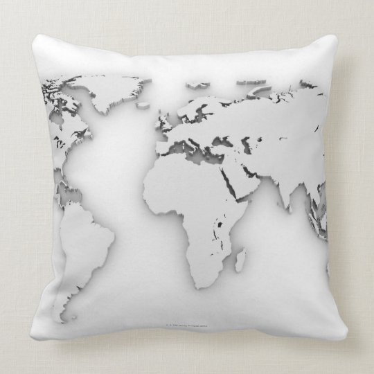 3D World map, computer generated image Throw Pillow