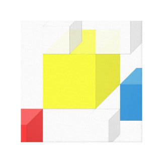 3D Yellow Red Colorful Square Brick Block Canvas
