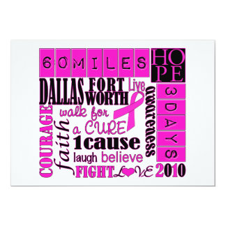 "3day walk - Dallas Fort Worth 5"" X 7"" Invitation Card"