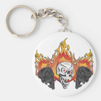 3flaming skulls copy basic round button keychain