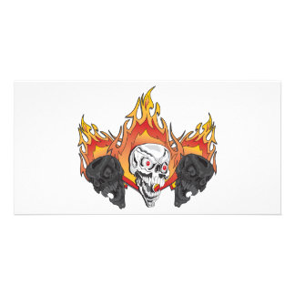 3flaming skulls copy card