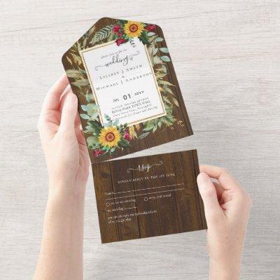 3in1 Burgundy Roses Sunflowers Wedding RSVP Invite