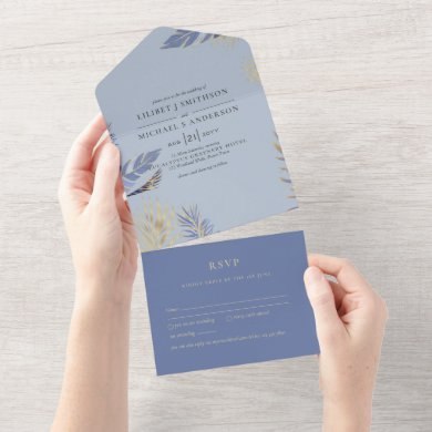3in1 Dusty Blue Gold Boho Feathers Wedding RSVP All In One Invitation