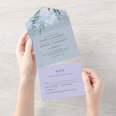 3in1 Dusty Blue Lavender Floral Wedding RSVP All In One Invitation