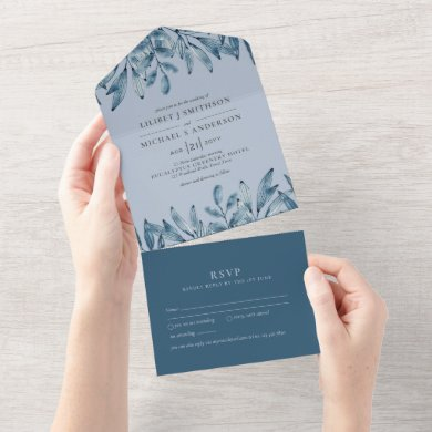 3in1 Dusty Blue Navy Leaves Wedding RSVP All In One Invitation