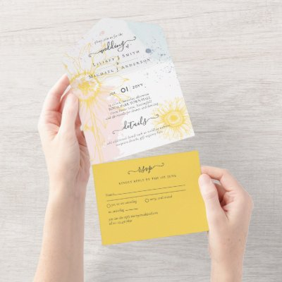 3in1 Modern Sunflower Blush Pink Blue Wedding RSVP All In One Invitation