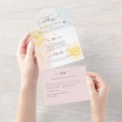 3in1 Modern Sunflower Dusty Pink Blue Wedding RSVP All In One Invitation