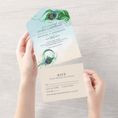 3in1 Peacock Feather Aqua Coral Wedding RSVP All In One Invitation