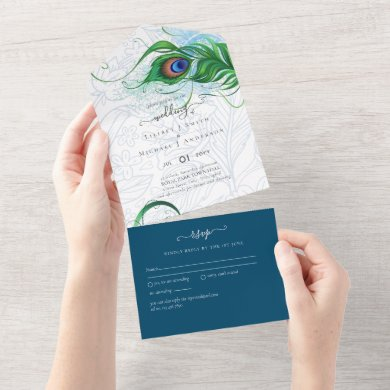 3in1 Peacock Feather Blue Green Wedding RSVP All In One Invitation