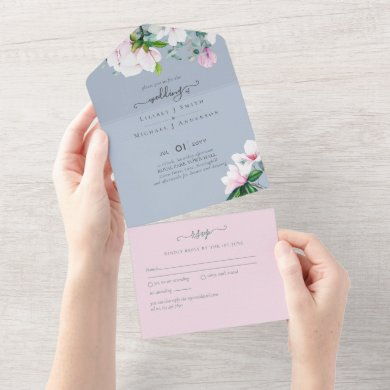3in1 Pink Magnolias Dusty Blue Eucalyptus Wedding All In One Invitation