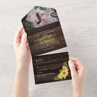 3in1 Rustic Sunflowers Woodland  Wedding RSVP All In One Invitation