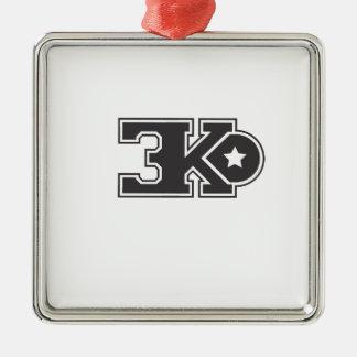3KO blanco básico T Adorno Navideño Cuadrado De Metal