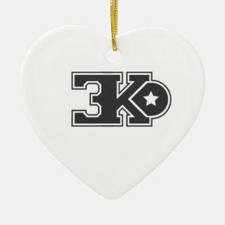 3KO blanco básico T Adorno Navideño De Cerámica En Forma De Corazón