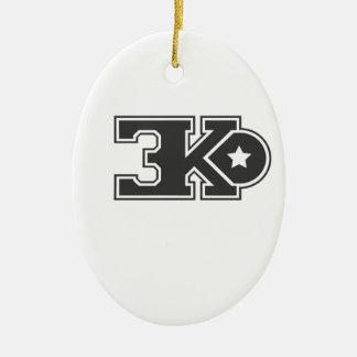 3KO blanco básico T Adorno Navideño Ovalado De Cerámica