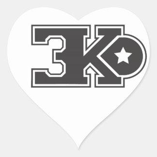 3KO blanco básico T Pegatina En Forma De Corazón