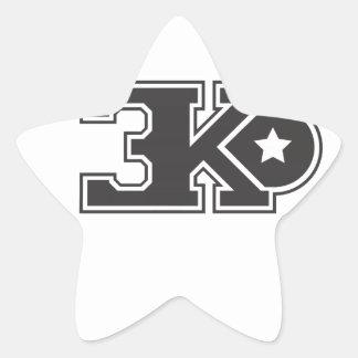 3KO blanco básico T Pegatina En Forma De Estrella